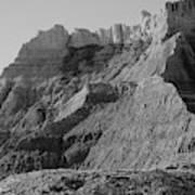 Badlands South Dakota Black And White Poster