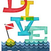 Bahamas Dive - Colorful Scuba Poster