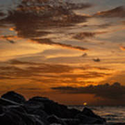 Barbados Sunset Clouds Poster