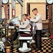 Barber Getting Haircut Poster