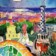 Barcelona By Moonlight Watercolor Painting By Mona Edulesco Poster