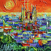 Barcelona Orange View - Sagrada Familia View From Park Guell - Abstract Palette Knife Oil Painting Poster