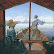 Barge Trip On The Elbe Near Dresden, Morning On The Elbe, 1827 Poster