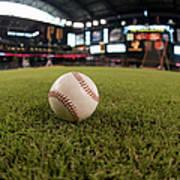 Baseball On Field Fish-eye Poster