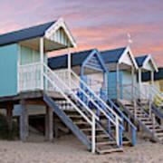 Beach Huts Sunset Poster