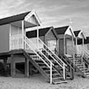 Beach Huts Sunset In Black And White Poster