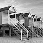 Beach Huts Sunset In Black And White Square Poster