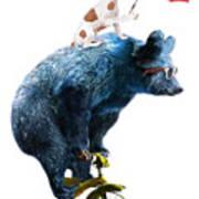 Bear And Dog Circus Show Illustration Poster