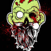 Bearded Zombie Undead With Beard Halloween Party Dark Poster