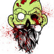 Bearded Zombie Undead With Beard Halloween Party Light Poster