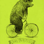 Bears On Bicycles - Lime Poster