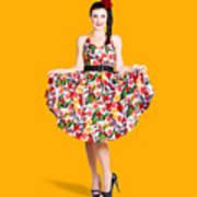 Beautiful Dancing Woman In Retro Red Dress Poster