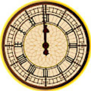 Big Ben Midnight Clock Face Poster