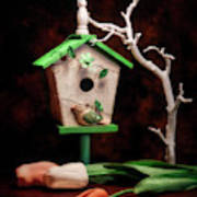Birdhouse With Tulips Poster