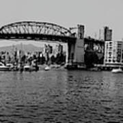 black and white panorama of Vancouver from plaza of nations showing the beautiful city Poster