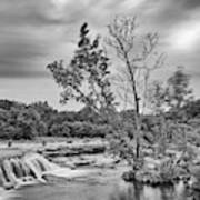 Black And White Photograph Of Link Falls At Bull Creek District Park Greenbelt - Austin Texas Poster
