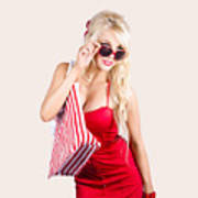 Blond Woman Shopping Poster