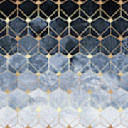 Blue Hexagons And Diamonds Poster