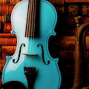 Blue Violin And Old Books Poster