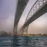 Blue Water Bridge Fog Poster