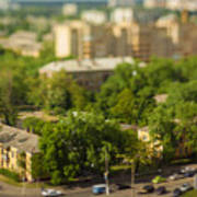 Blurry Tilt-shift Cityscape Background Poster