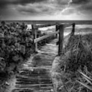 Boardwalk To The Sea In Radiant Black And White Poster