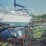 Boat Out Of Water With Dumped Parts At Marina Poster