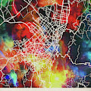 Bogota Colombia Watercolor City Street Map Poster