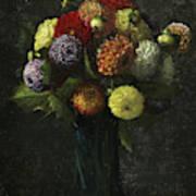 Bouquet Of Dahlias Poster
