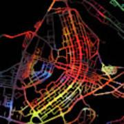 Brasilia Brazil City Street Map Watercolor Dark Mode Poster