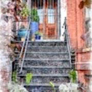 Brick Townhouse Walkup Watercolor Poster