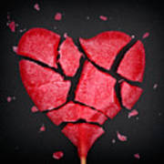 Broken Red Heart Shaped Lollipop Poster