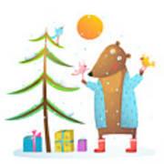 Brown Bear Wearing Warm Winter Coat Poster