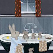 Bunny Bath Time Poster