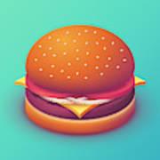 Burger Isometric - Plain Mint Poster