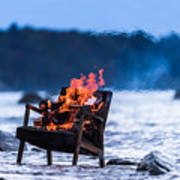 Burning Old Armchair On The Seashore Poster