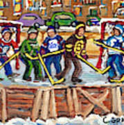 Calgary Flames Ottawa Sens Toronto Leafs Canadiens Oilers Boston Bruins Hockey Art Outdoor Rinks Poster