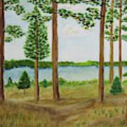 Camping At The Lake Poster