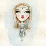 Cartoon Cute Child Girl  . Watercolor Poster