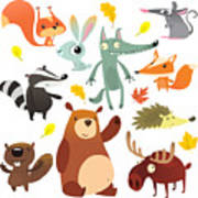 Cartoon Forest Animal Characters. Wild Poster