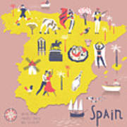 Cartoon Map Of Spain With Legend Icons Poster