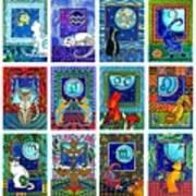 Cat Zodiac Paintings  Poster