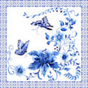 Chinoiserie Blue And White Pagoda With Stylized Flowers Butterflies And Chinese Chippendale Border Poster