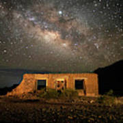 Chisos Mountain Homestead Under The Milky Way Poster