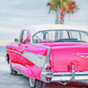 Classic Vintage Pink Chevy Bel Air  8x10 Scene Poster