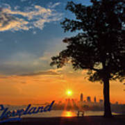 Cleveland Sign Sunrise Poster