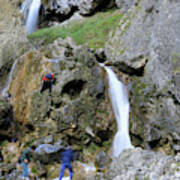 Climbers Making Their Way Up The Cliffs Of Gordale Scar Poster