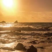 Coastal Sunrise Silhouette Poster