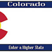 Colorado State License Plate Poster