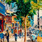Colorful Cafe Painting Irish Pubs Bistros Bars Diners Delis Downtown C Spandau Montreal Eats         Poster